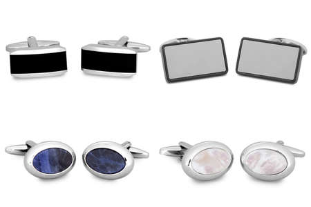cuff link: stainless steel cufflinks isolated on white background