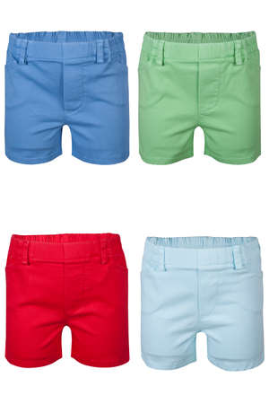childrens wear: Childrens wear - shorts isolated over white background Stock Photo