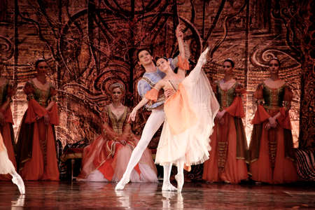 MADRID, SPAIN - JANUARY 26, 2011: Russian imperial ballets performance Swan Lake ballet at Teatro Compac Gran Via, January 26, 2011 in Madrid, Spain.