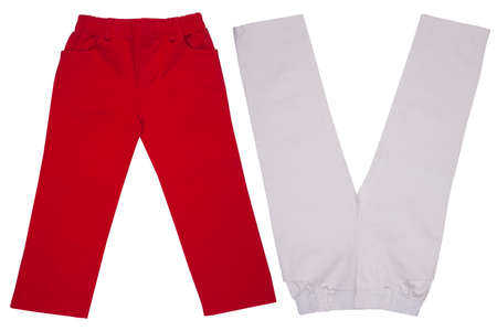 childrens wear: Childrens wear - trousers isolated over white background Stock Photo
