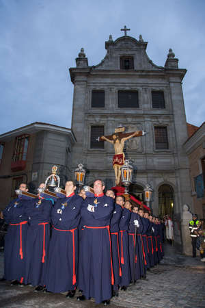 piety: MADRID, SPAIN - APRIL 22, 2011: Procession of Jesus of Nazareth The Poor through the streets of Madrid in the festivities of Easter Holy Week.