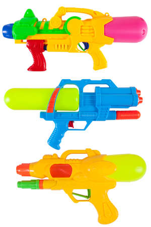 Water spray gun for playing and watering to each other in hot season isolate on white Stock Photo