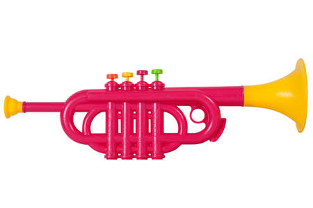 fanfare: childrens toy horn plastic on white background Stock Photo