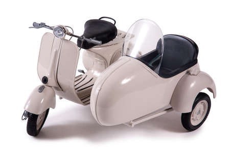 Delivery scooter isolated on white background.