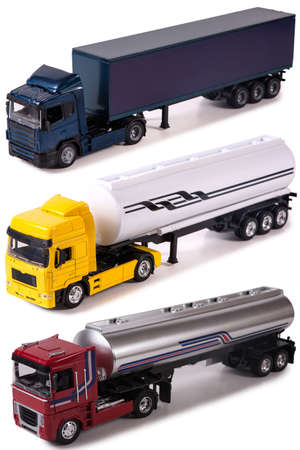 Isolated trucks with shadow on white backround