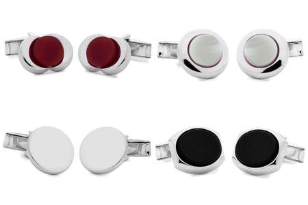stainless steel cufflinks isolated on white background