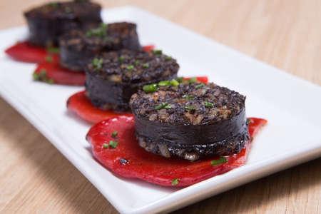 Morcilla traditionele Spaanse worst uit bloed Stockfoto