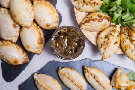 Traditional Empanadas stuffed with minced beef, pepper and corn