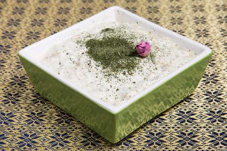 Traditional Iranian persian cuisine.  Yogurt with eggplant and garlic. Ottoman food. 写真素材
