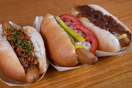 Assortment of different homemade hot dogs top view