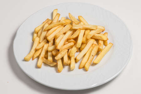 Long cut french fries, deep fried chips for construction material and fast food concepts