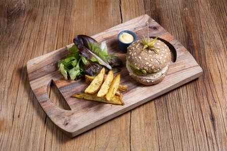 Vegan Burger Texmex with vegan cheese.