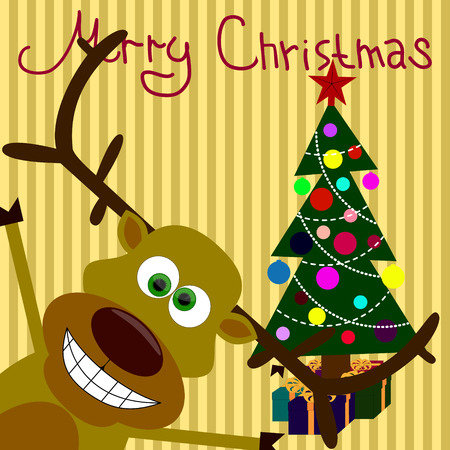 depicts: Christmas card which depicts funny reindeer and Christmas tree.