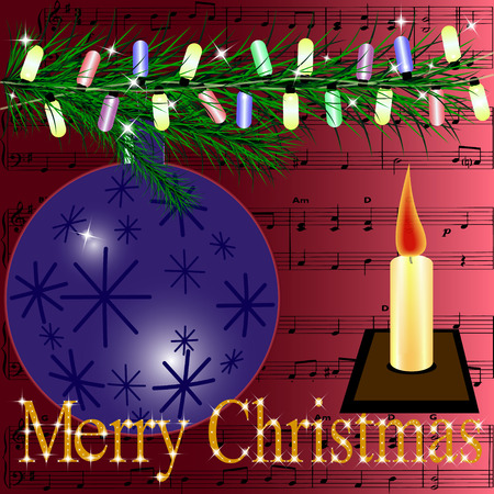 scores: Christmas card, which depicts a fur-tree branch decorated with multi-colored torch and candle. In the background score Merry Christmas.