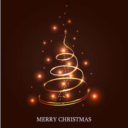 dark brown background: Illuminated Christmas tree on a dark brown background