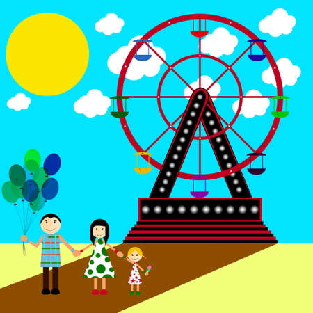 mom and daughter: Happy young family at an amusement park Illustration