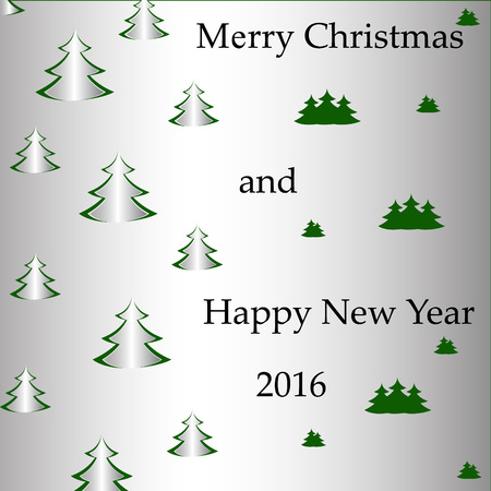 slit: Postcard Christmas tree with paper effect and congratulations.
