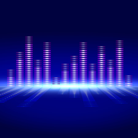 frequency: The equalizer of voice frequency with bright lighting on a blue background. Illustration
