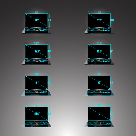 inches: Set of the sizes of a matrix of laptops inches, height and width. Illustration