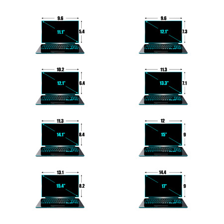 width: Set of the sizes of a matrix of laptops inches, height and width. Illustration