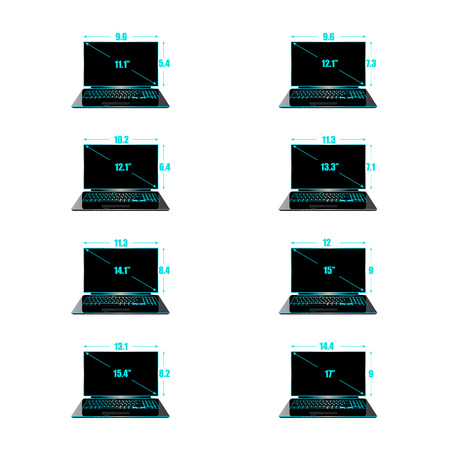 Set of the sizes of a matrix of laptops inches, height and width. Illustration