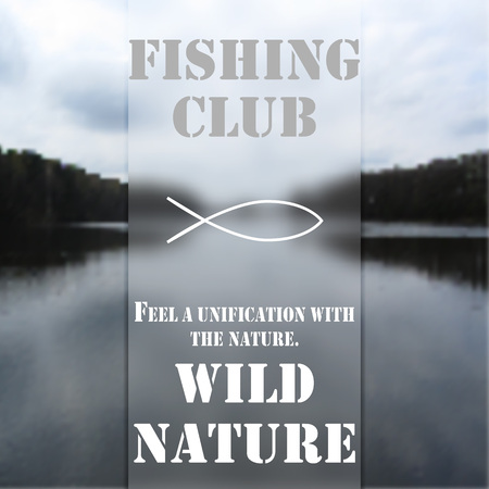 wild nature: Poster of fishing club, background of the wild nature. Illustration