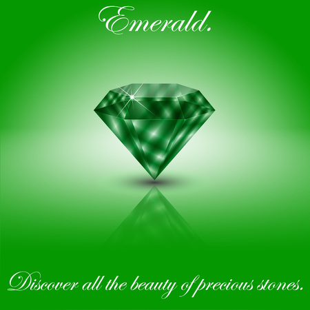 Realistic emerald on a light background with a specular reflection.