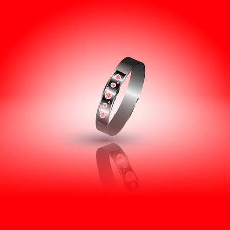 specular: Realistic precious ring with diamonds on an easy background with a specular reflection. Illustration