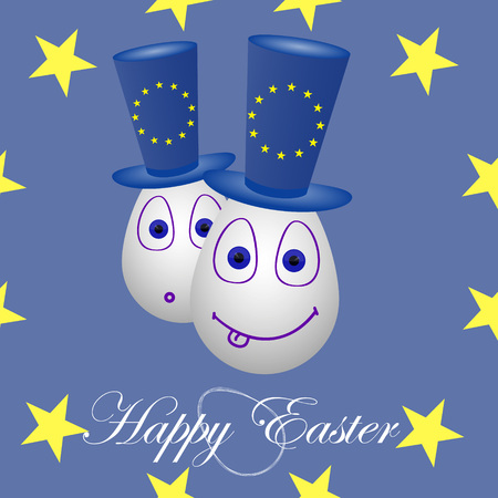 penalty card: The festive card happy Easter for the European Union. Illustration