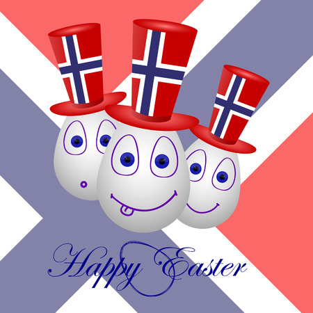 penalty card: The festive card happy Easter for Norway. Illustration