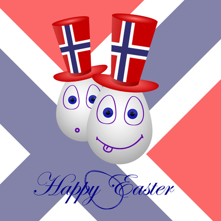 penalty flag: The festive card happy Easter for Norway. Illustration