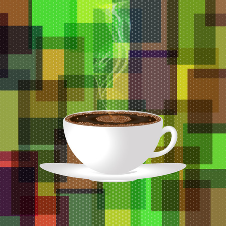 fragrant: Cup of hot, fragrant coffee with a smoke on a colourful background.