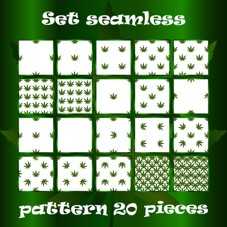 awfully: Set of 20 seamless pattern with the image of leaves of marijuana