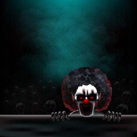 Des Mörders Clowns, Menge der Clowns unter einem strömenden regen. Vektorgrafik