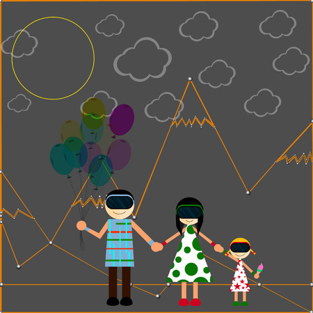 virtual world: Close-knit family in the virtual world in helmets of virtual reality.