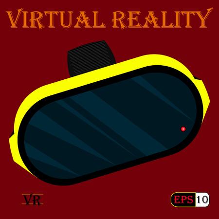 virtual world: Bright yellow-black helmet of virtual reality.