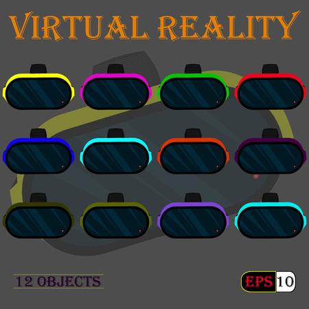 virtual world: Set of multi-colored helmets of virtual reality. Illustration