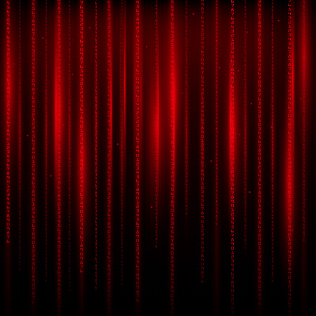 context: Matrix an abstract background the movement of vertical figures on a red background.