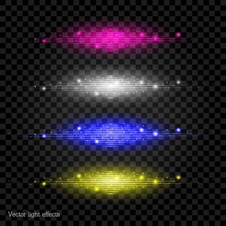 flaring: Set, vectorial effects of lighting of different color.