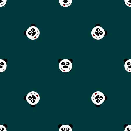 baby s: Panda with stars seamless pattern on blue background. Cute design for print on baby s clothes. Vector background with smiling baby animal panda. Child style illustration.
