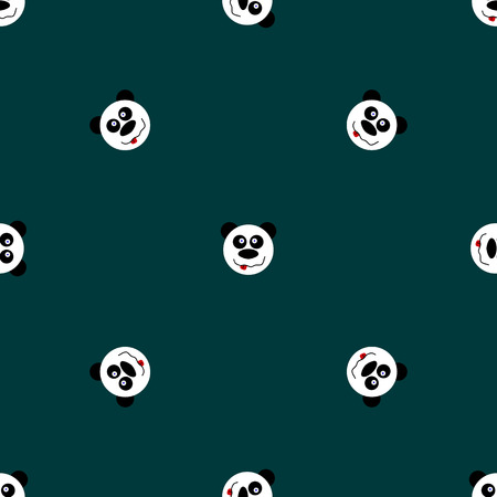 child s: Panda with stars seamless pattern on blue background. Cute design for print on baby s clothes. Vector background with smiling baby animal panda. Child style illustration.