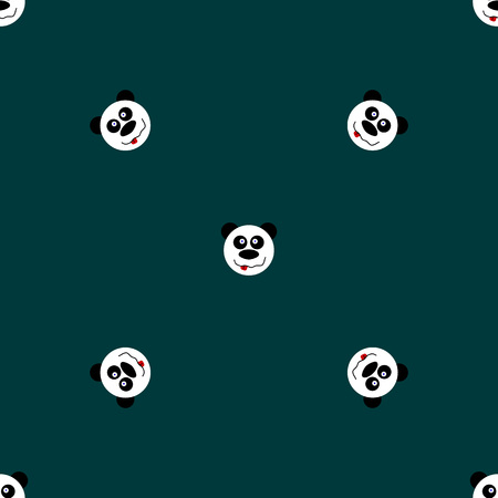 Panda with stars seamless pattern on blue background. Cute design for print on baby s clothes. Vector background with smiling baby animal panda. Child style illustration.