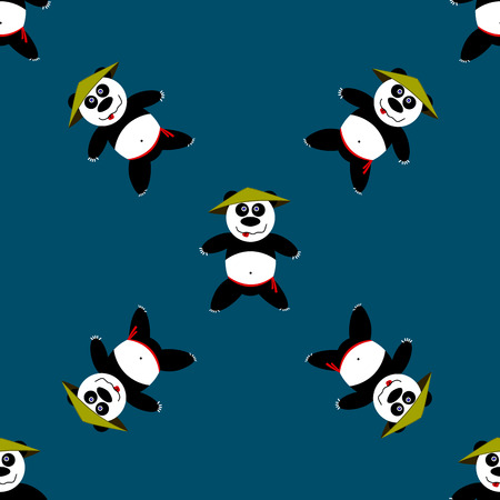 aikido: Seamless pattern Panda. Vector illustration, school of east martial arts