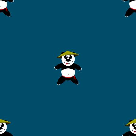 creative force: Seamless pattern Panda. Vector illustration, school of east martial arts