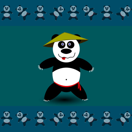 aikido: Amusing sport Panda. Vector illustration, school of east martial arts