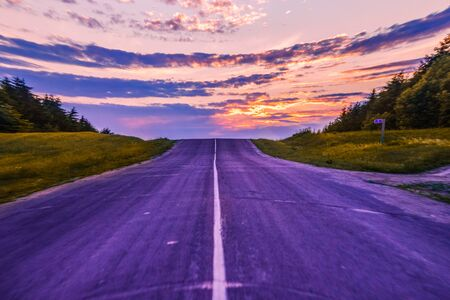 Road to sunset time, beautiful landscape h Stock Photo