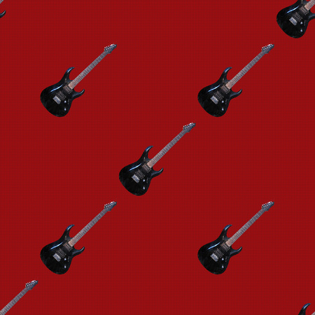 Seamless pattern, the realistic electric guitars consisting of triangles.