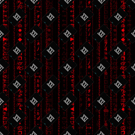 carried: Seamless pattern, a realistic smartphone against the background of a flow of digits of red color.