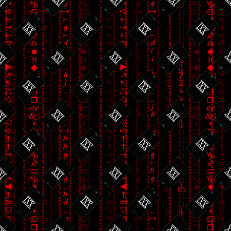 against the flow: Seamless pattern, a realistic smartphone against the background of a flow of digits of red color.