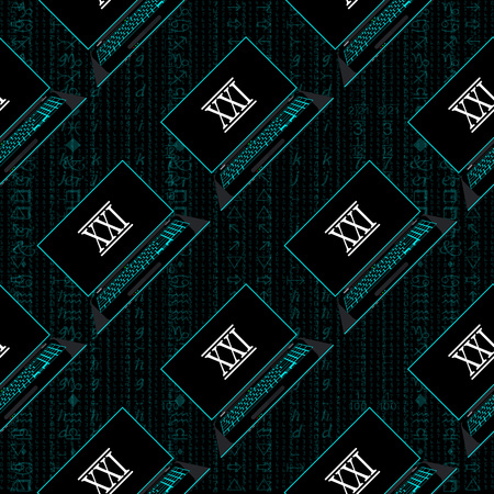 Seamless pattern, a realistic laptop against the background of a flow of digits of blue color.